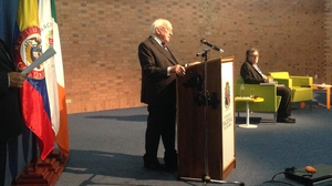 President Higgins giving his keynote speech in Colombia's National University, Bogota