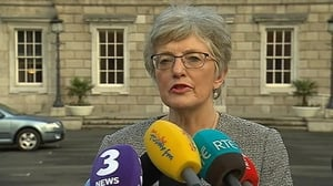 Katherine Zappone addressing reporters outside the Dáil