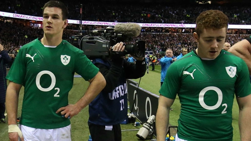 Johnny Sexton (L) and Paddy Jackson are likely to battle it out for the starting 10 jersey against France