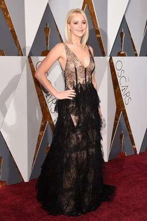 The Dior muse in a Dior gown! Nominated for Best Actress for 'Joy', she is beautiful in black lace at the 88th Oscars in 2016.
