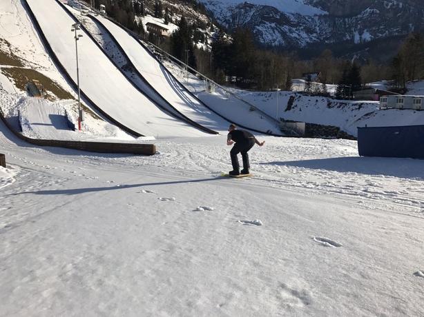 Tadhg Peavoy pracising ski jumping
