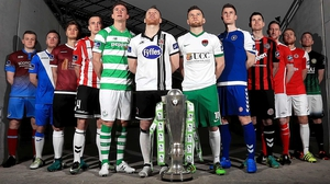 Players from all this season's Airtricity Premier Division clubs at the Aviva Stadium league launch