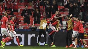 Konstantinos Mitroglou celebrates his goal at Estadio da Luz
