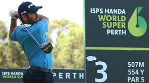 Louis Oosthuizen hits a tee shot during previews in Perth
