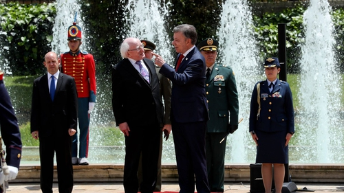 President Higgins met with Colombian President Santos before flying to Cuba (Pic: Áras an Uachtaráin)