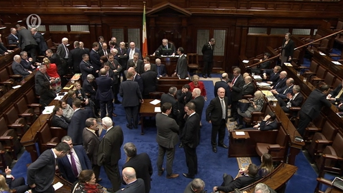 The motion was passed by 57 votes to 52, with 44 abstentions by Fianna Fáil