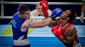 Joe Ward (L) was beaten in Rio by Carlos Andres Mina
