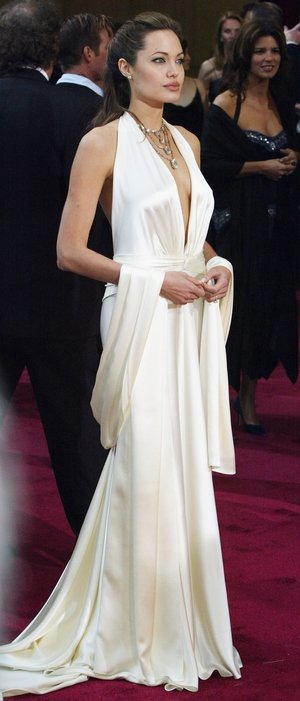 Angelina looks every bit the Hollywood star in this Marilyn Monroe satin gown from Marc Bouwer in 2004!