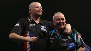 Phil Taylor beat Raymond van Barneveld but the Dutchman was in good spirits afterwards (pic: @Raybar180 Twitter)