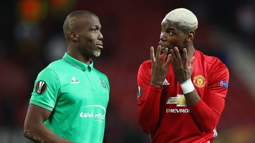 Paul Pogba (r) and his brother Pogba during the UEFA Europa match