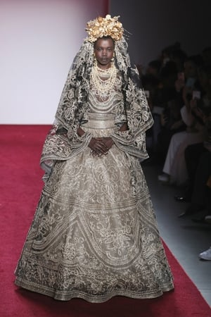 February 14th Day 6: Beyoncé-like crown and veil with magnificent embroidered dress at the Naeem khan fashion show.