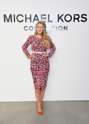 February 15th Day 7: Always fabulous actress Blake Lively attending the Michael Kors fashion show in printed dress and fab neon heels.