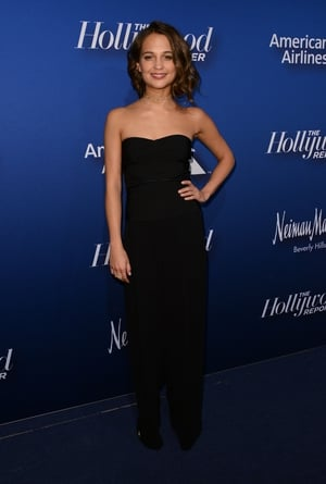 We love the black bustier on this Yigal Azrouel jumpsuit at The Hollywood Reporter's Nominees Night in 2016. Look at her gorgeous choker necklace!