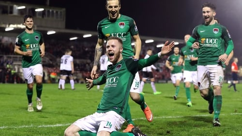 Cork's Kevin O'Connor celebrates scoring their second goal against Dundalk