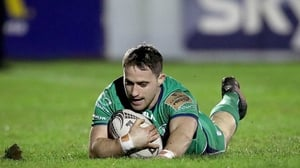 Caolin Blade scores his side's second try against the Dragons at the Sportsground