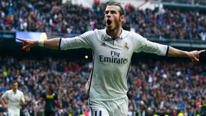 Gareth Bale celebrates scoring against Espanyol