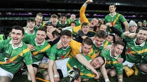 Carrickshock players celebrate on the Croke Park pitch after their All-Ireland win