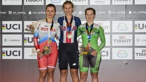 Gurley (right) on the podium following her bronze medal win in Cali