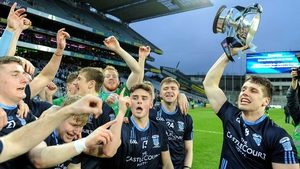 Lee Keegan (R) leads the Westport celebrations