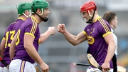 Wexford's Lee Chin celebrates with Conor McDonald at the final whistle