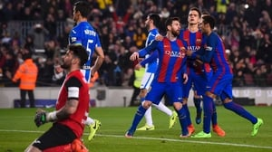 Leo Messi's penalty edged Barca to victory