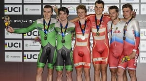 Mark Downey (L) and Felix English (2nd L) on the podium in Colombia