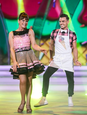 Week 7: Ryan showed his sweeter side dancing the jive with Teresa last night. We love that white bow tie and Teresa's shimmering sequins.