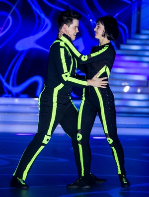 Week 7: Dayl and Valeria certainly switched it up this week with neon green bodysuits. Their salsa lit up the room and earned them the perfect score.