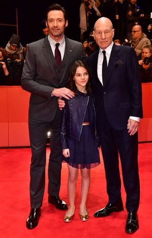 Hugh Jackman, Dafne Keen and Patrick Stewart attending the 'Logan' Premiere. How cute is her co-ord top and skirt combo?