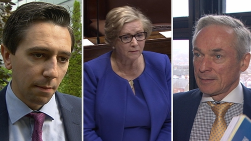 Simon Harris, Frances Fitzgerald and Richard Bruton (L to R)