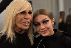 Designer Donatella Versace and model Gigi Hadid at the designer's Versus show.