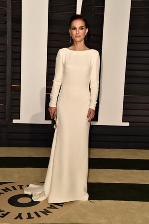 Natalie looked beautiful in this floor length, white, Christian Dior dress at the 2015 Vanity Fair Oscar Party.