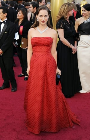 Natalie mixes things up on the red carpet with a vintage Dior polka-dot dress and Harry Winston diamonds in 2012.