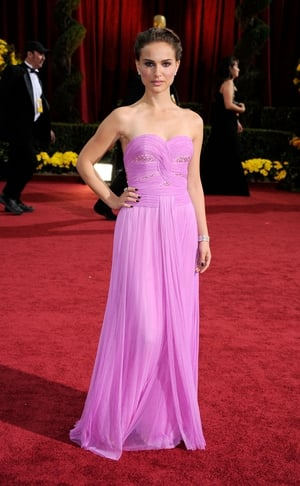 Natalie is just breathtaking in this pink, fitted Rodarte dress in 2009.