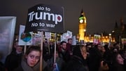 People protest against the planned visit of Donald Trump to the United Kingdom
