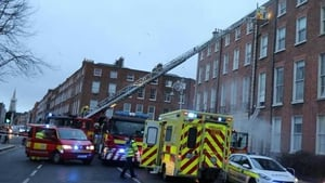 Mountjoy Square North is closed to traffic and pedestrians (Pic: Dublin Fire Brigade)