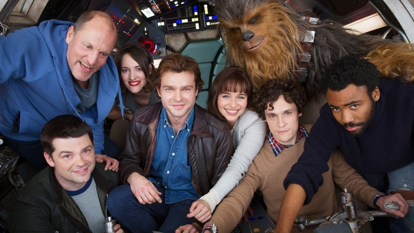 The cast of the upcoming young Han Solo spin-off with Alden Ehrenreich (centre)