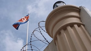 A North Korean flag is seen at the North Korean Embassy compound in Kuala Lumpur