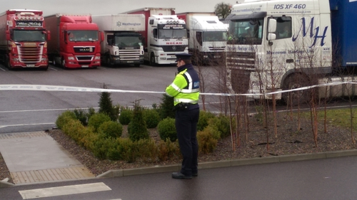 The scene at the truck parking area of a garage on the north side of Fermoy has been cordoned off