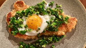 Stephen's Pork Schnitzel, fried egg & cabbage salsa: Today
