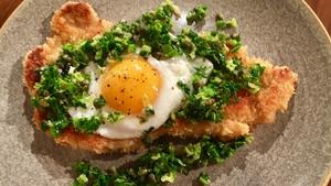 Stephen's Pork Schnitzel, fried egg & cabbage salsa: Today