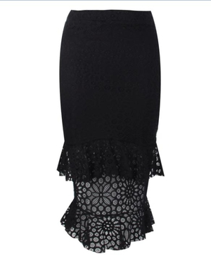Every girl needs a statement skirt. This Alexandra double frill pencil skirt from boohoo.com has it all.