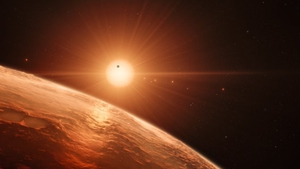 An artist's impression of the Trappist 1 system (Pic: ESO/M Kornmesser/spaceengine.org)
