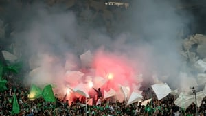 The Saint-Etienne supporters have lit up the Stade Geoffroy-Guichard