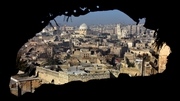 Damaged buildings in war-torn Aleppo