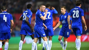 Jamie Vardy celebrates his goal against Seville