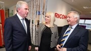 Ricoh UK and Ireland CEO Phil Keoghan, Minister for Jobs Mary Mitchell O'Connor and Richoh Ireland General Manager Gary Hopwood at the jobs announcement