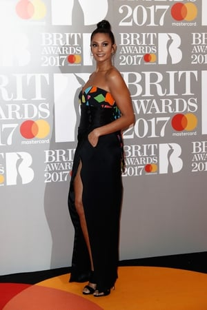 Radiant singer Alesha Dixon in a bustier gown and cute top knot.