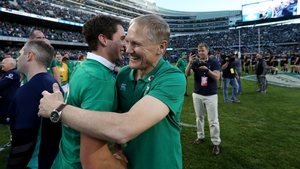 Joey Carbery and Joe Schmidt celebrate the win over New Zealand last November