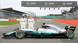 Lewis Hamilton and Valtteri Bottas with the new Mercedes F1 car